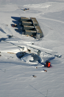 Aerial photo of the new elevated station at the geographic South Pole, taken in February 2009 by Henry Malmgren, NSF/USAP.