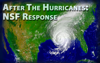 Illustration of hurricane, U.S. map and words After The Hurricanes: NSF Response