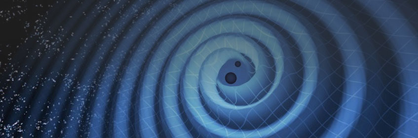 This illustration shows the merger of two black holes and the gravitational waves that ripple outward as the black holes spiral toward each other.