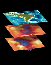 Surface topography around South America overlays variable topography in Earth's upper mantle.