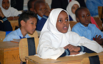 girl in a classroom in Kenya