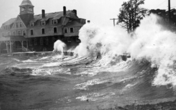 Waves crashed ashore in Woods Hole, Mass., during a 1938 hurricane.