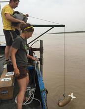An instrument about to be lowered into the Yellow River to collect a water and sediment sample.
