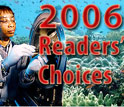 2006 Readers' Choices -- background images representative of stories, including underwater with fish, and female scientist at work