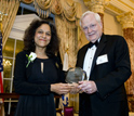 NSB Awards Committee Chairman Ray Bowen presents 2010 Public Service Award to Nalini Nadkarni.