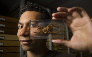 Ralph Washington Jr. holding a spider specimen