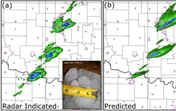 tqo maps comparing forecast with the actual radar-indicated hail