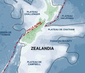Zealandia, about half the size of Australia, surrounds New Zealand.
