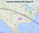 The solar eclipse will cross the U.S. from coast to coast, ending in Charleston, South Carolina.