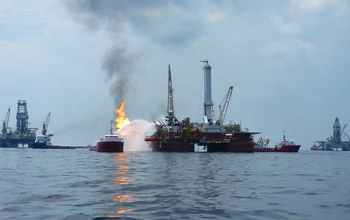 Gas flare-off from the 2010 Deepwater Horizon oil spill, seen from a distance.