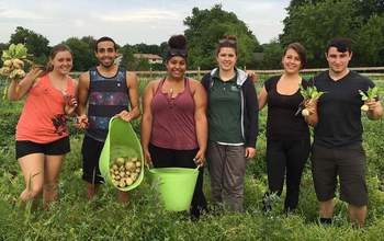 Students involved with Montclair State University in a farm field.