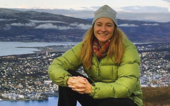 Researcher Georgina Gibson with Fairbanks, Alaska, in the background.