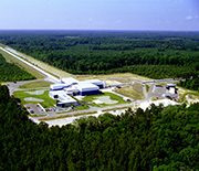 Aerial view of LIGO's detector site in Livingston, Louisiana.