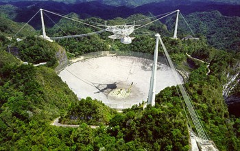 Overhead view of the Arecibo Observatory in Puerto Rico.