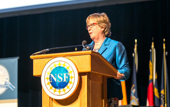 Joan Ferrini-Mundy, NSF assistant director for Education and Human Resources, addresses awardees.