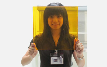 Photo of team member Vivian Sieh holding up the photorefractive polymer.