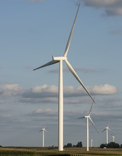 Wind turbines stretch across Iowa. The 193-turbine Rolling Hills Wind Farm is the state's largest.