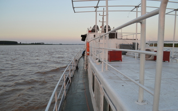 View from the scientists' research vessel on the Yellow River in China.
