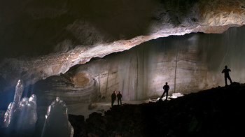 Panoramic view of an ice cliff inside the Scărișoara Ice Cave, where the research was done.