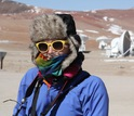 Person wearing winter clothes in  the Atacama desert in the winter.
