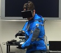 Student in a virtual reality suit