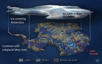 Subglacial lakes and rivers