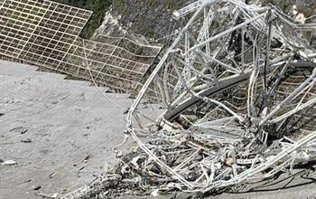Damage sustained at the Arecibo Observatory 305-meter telescope.