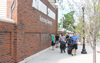 Kettering University students participating in a community cleanup