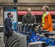 TRIPODS+X researchers meet with a Citi Bike employee as they study complex transit challenges.