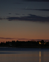 Comet ISON as seen above Port Medway, Nova Scotia at dusk