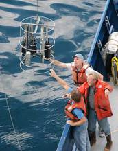 California Current Ecosystem scientists launch a research instrument at sea