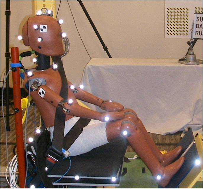 Image of a dummy on a sled to research ways to protect children and adolescents in car crashes.