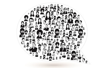 illustration showing a bubble filled with faces of people