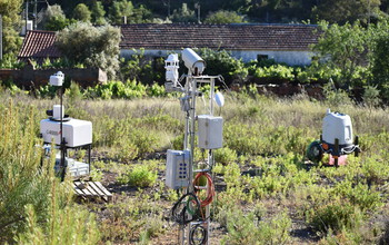 LIDAR and aerosol-sensing instruments at a Perdigão research site; LIDAR units map the wind flow field.