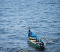 Fishing boat floating on Lake Victoria.