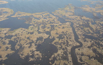 Aerial view of degrading marsh in southeastern Louisiana.