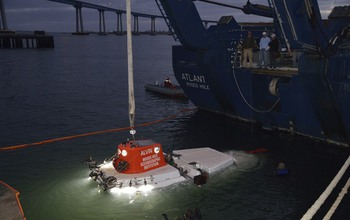 Researchers testing Alvin off the R/V Atlantis at night