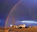 rainbow over an NSF-funded geologic research drilling site in Wyoming's Bighorn Basin.