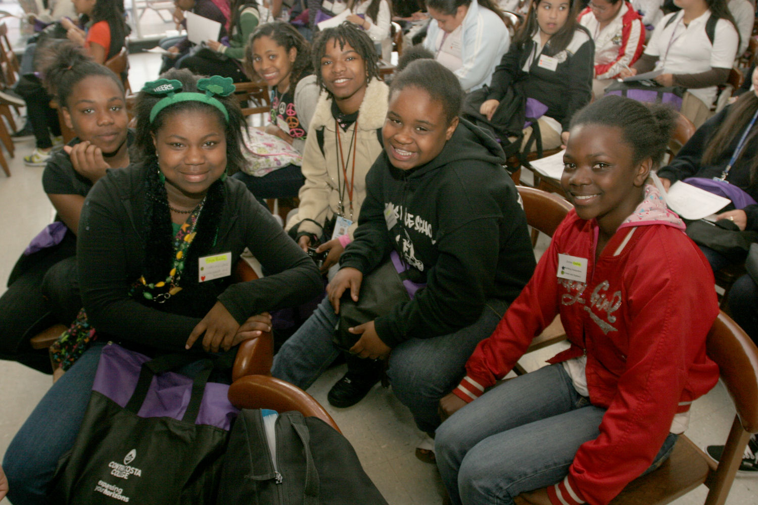 Girls from the Contra Costa EYH conference in San Pablo, California gather for an opening conference