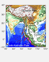 Map shows earthquakes with magnitudes greater than 5.0 from 1965 to Dec. 25, 2004.