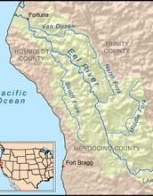 map showing the Eel River watershed  on the West coast