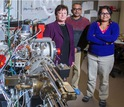 Researchers Lynda Williams, Rajeev Misra, Maitrayee Bose in a lab