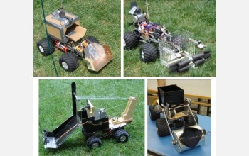 Four examples of students' robots, built on remote control truck platforms.