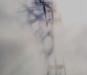 The fog shadow of a communication antenna in San Francisco called Sutro Tower.