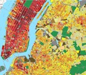 New York City map estimating total annual building energy consumption at the block and lot level
