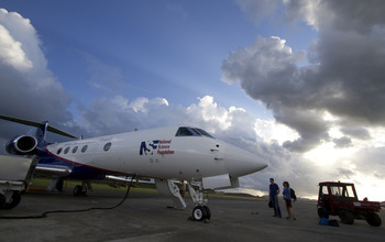 The NSF/NCAR Gulfstream V readies for takeoff on a mission to study a tropical storm.