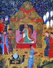 Illustration showing Genghis Khan on the throne surrounded by people