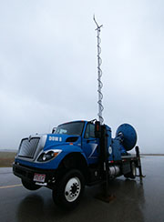The Doppler on Wheels at an airport near Rockport, Texas. Its mast measured 145 mph winds.