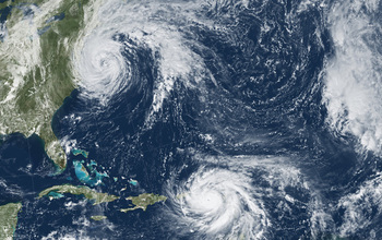 Satellite image of 2017's Hurricane Jose off the U.S. Atlantic coast and Hurricane Maria over Atlantic waters to the southeast of Jose.