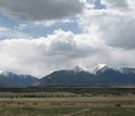 The Collegiate Peaks viewed from the Arkansas River Valley in Colorado.
